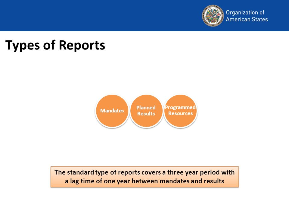 Types of Reports The standard type of reports covers a three year period with a lag time of one year between mandates and results Mandates Planned Results Programmed Resources