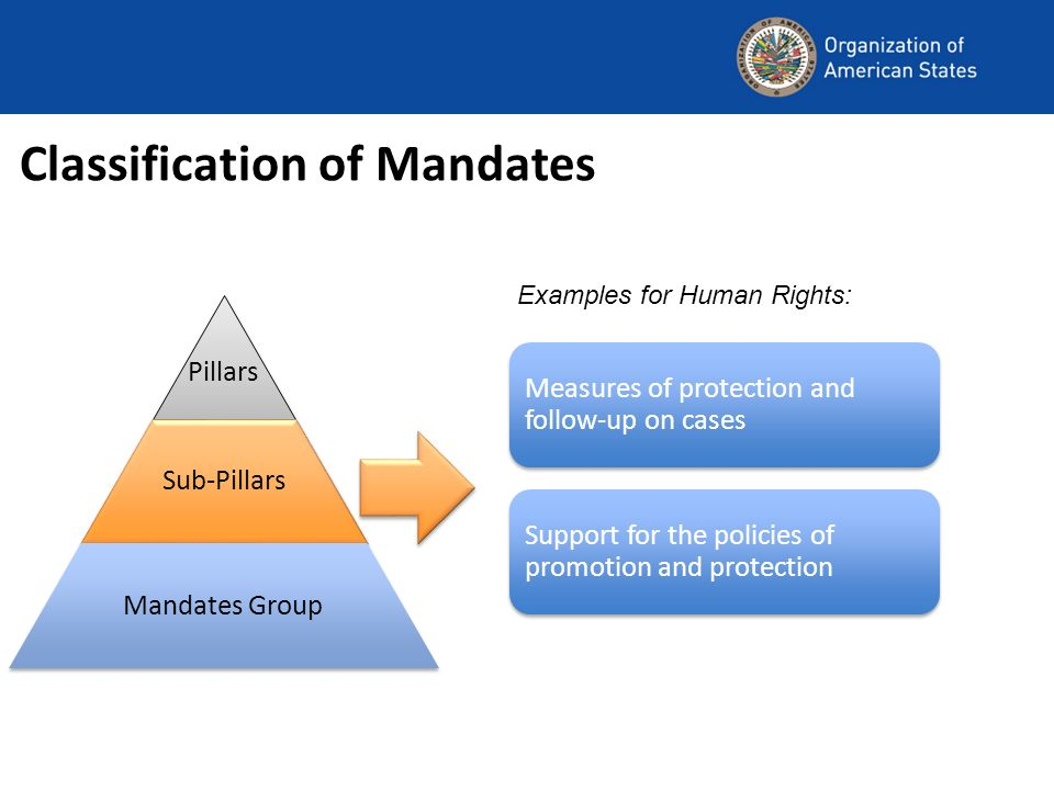 Classification of Mandates Measures of protection and follow-up on cases Support for the policies of promotion and protection Examples for Human Rights: Pillars Sub-Pillars Mandates Group