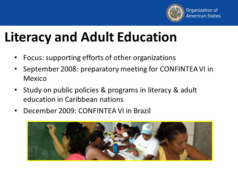 Literacy and Adult Education Focus: supporting efforts of other organizations September 2008: preparatory meeting for CONFINTEA VI in Mexico Study on public policies & programs in literacy & adult education in Caribbean nations December 2009: CONFINTEA VI in Brazil