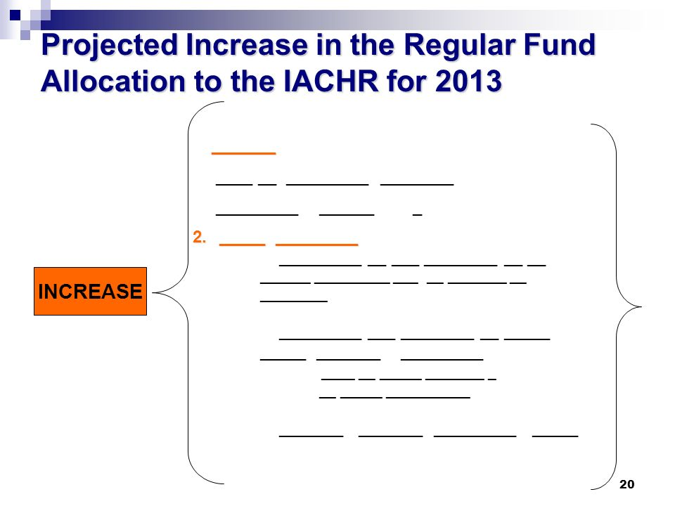 20 Projected Increase in the Regular Fund Allocation to the IACHR for 2013 INCREASE _______ _______ ____ __ _________ ________ _________ ______ _ 2.
