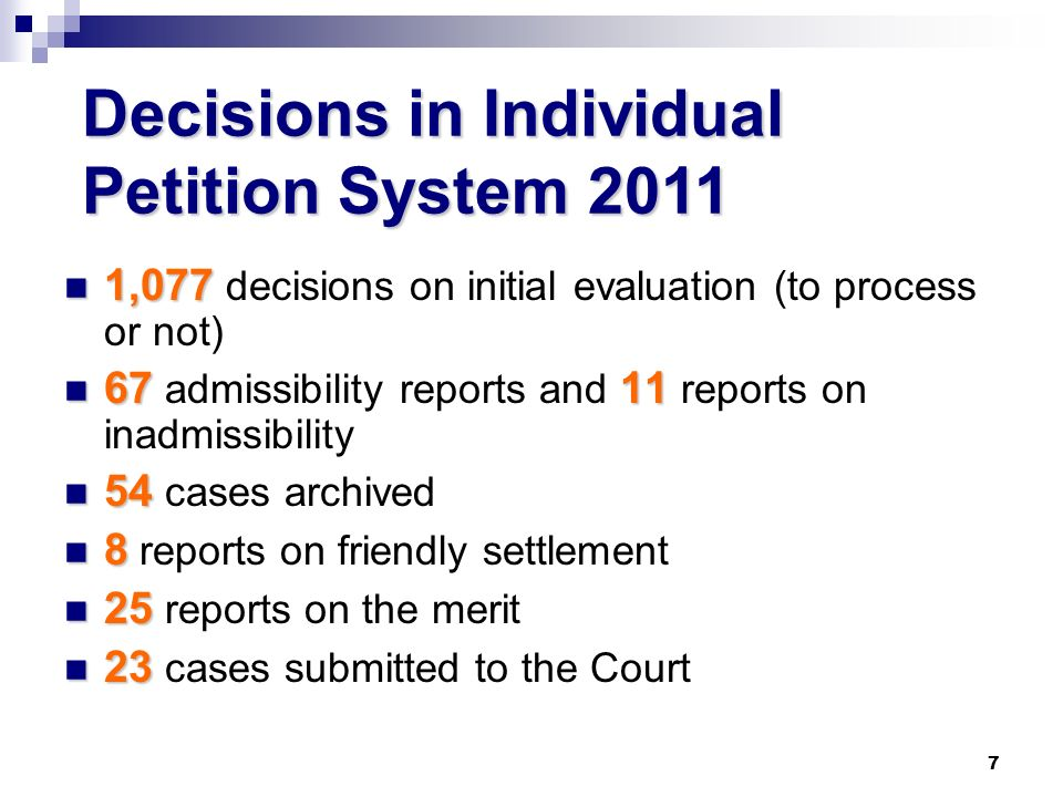 7 1,077 1,077 decisions on initial evaluation (to process or not) 6711 67 admissibility reports and 11 reports on inadmissibility 54 54 cases archived 8 8 reports on friendly settlement 25 25 reports on the merit 23 23 cases submitted to the Court Decisions in Individual Petition System 2011