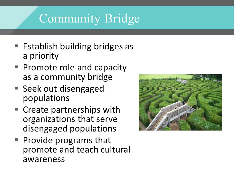 Community Bridge Establish building bridges as a priority Promote role and capacity as a community bridge Seek out disengaged populations Create partnerships with organizations that serve disengaged populations Provide programs that promote and teach cultural awareness