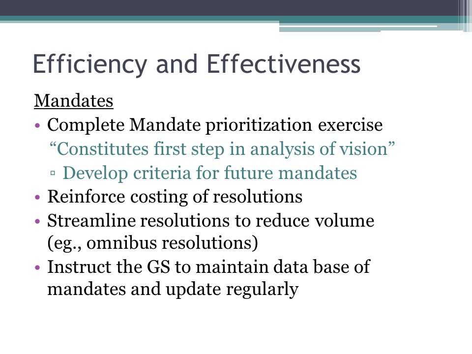 Efficiency and Effectiveness Mandates Complete Mandate prioritization exercise Constitutes first step in analysis of vision Develop criteria for future mandates Reinforce costing of resolutions Streamline resolutions to reduce volume (eg., omnibus resolutions) Instruct the GS to maintain data base of mandates and update regularly