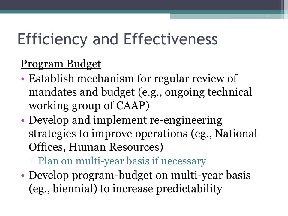 Efficiency and Effectiveness Program Budget Establish mechanism for regular review of mandates and budget (e.g., ongoing technical working group of CAAP) Develop and implement re-engineering strategies to improve operations (eg., National Offices, Human Resources) Plan on multi-year basis if necessary Develop program-budget on multi-year basis (eg., biennial) to increase predictability