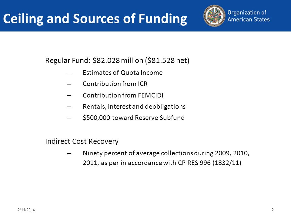 Ceiling and Sources of Funding Regular Fund: $82.028 million ($81.528 net) – Estimates of Quota Income – Contribution from ICR – Contribution from FEMCIDI – Rentals, interest and deobligations – $500,000 toward Reserve Subfund Indirect Cost Recovery – Ninety percent of average collections during 2009, 2010, 2011, as per in accordance with CP RES 996 (1832/11) 2/11/20142