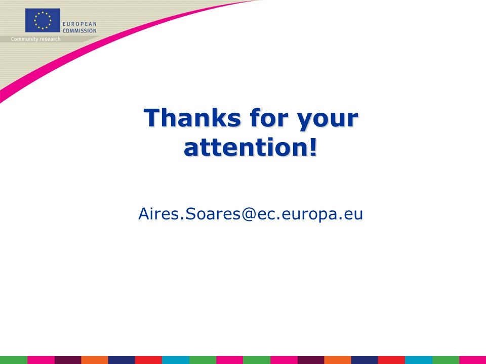 Thanks for your attention! Aires.Soares@ec.europa.eu