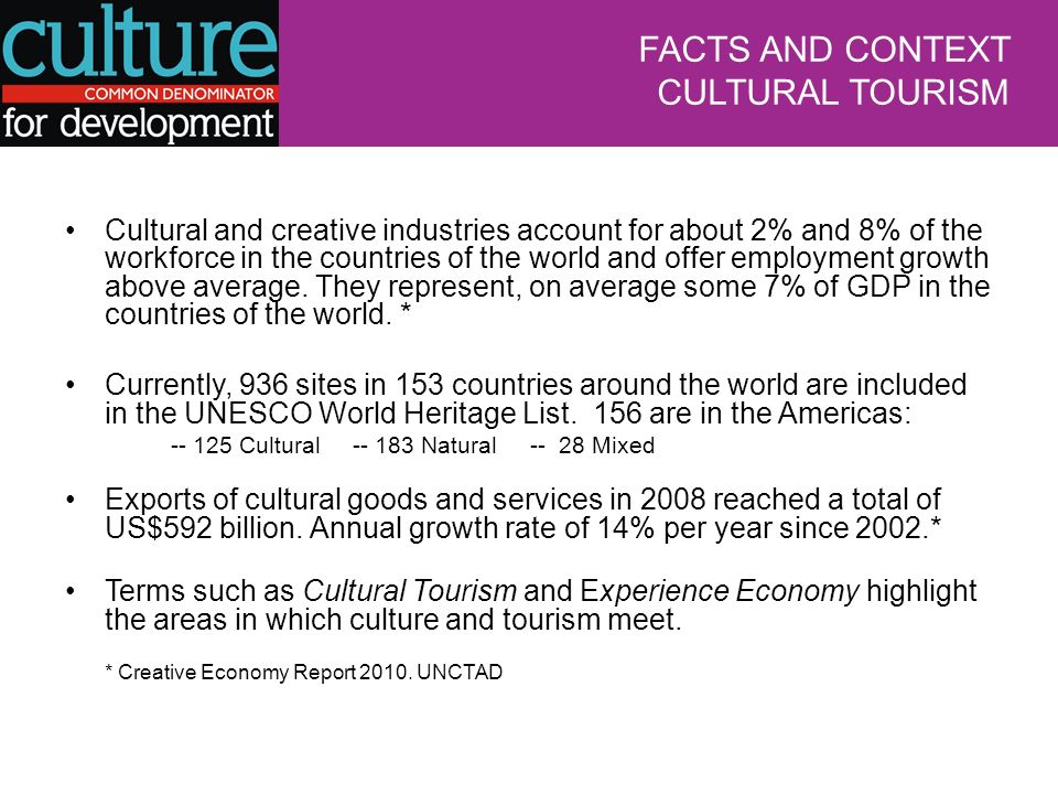 Cultural and creative industries account for about 2% and 8% of the workforce in the countries of the world and offer employment growth above average.
