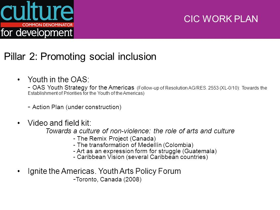 Pillar 2: Promoting social inclusion Youth in the OAS: - OAS Youth Strategy for the Americas (Follow-up of Resolution AG/RES.