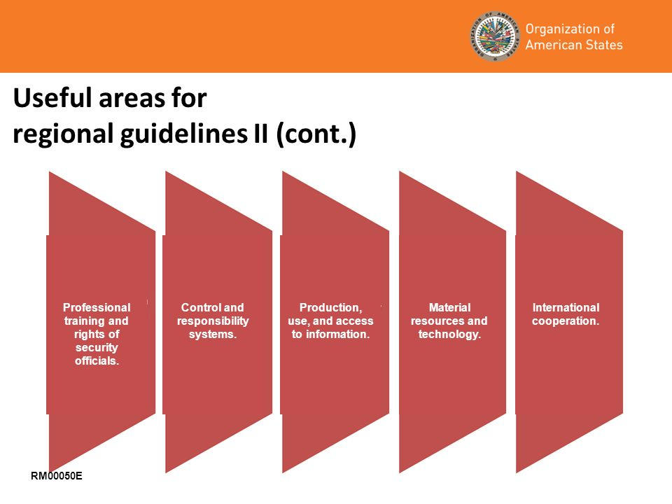 Useful areas for regional guidelines II (cont.) RM00050E Professional training and rights of security officials.