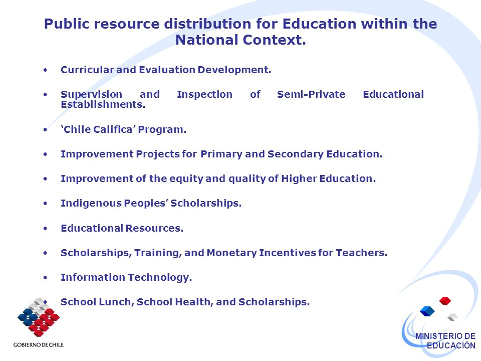 Public resource distribution for Education within the National Context.