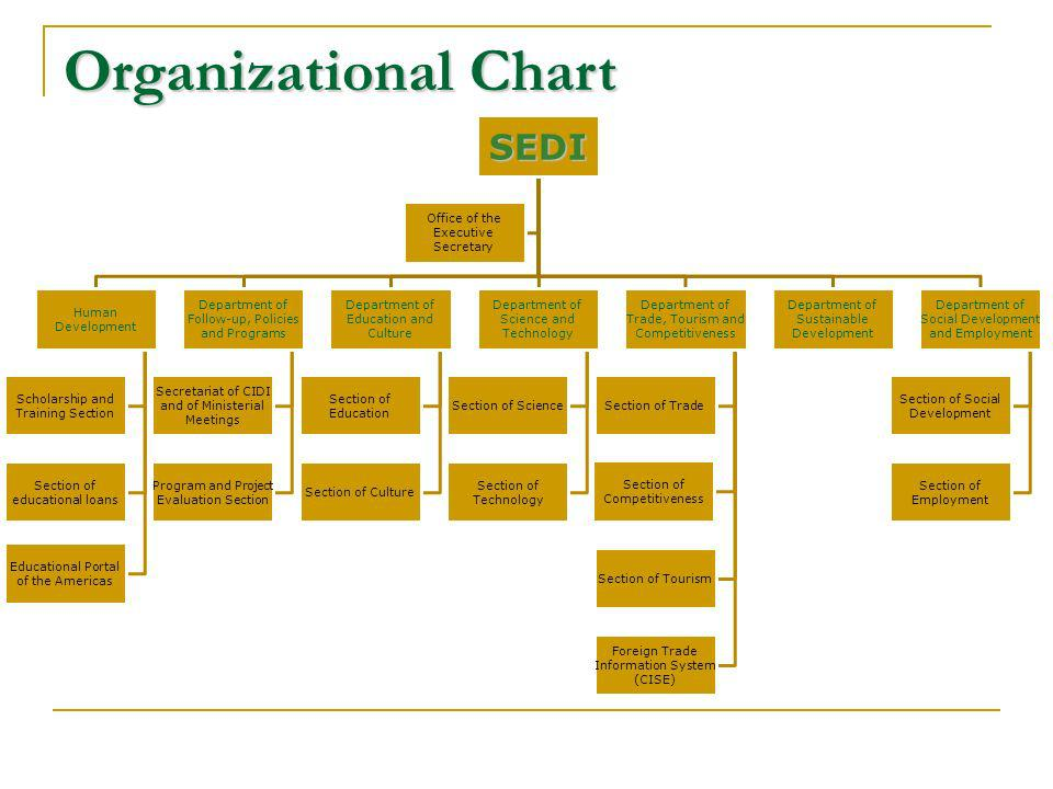 Organizational Chart SEDI Human Development Scholarship and Training Section Section of educational loans Educational Portal of the Americas Department of Follow-up, Policies and Programs Secretariat of CIDI and of Ministerial Meetings Program and Project Evaluation Section Department of Education and Culture Section of Education Section of Culture Department of Science and Technology Section of Science Section of Technology Department of Trade, Tourism and Competitiveness Section of Trade Section of Competitiveness Section of Tourism Foreign Trade Information System (CISE) Department of Sustainable Development Department of Social Development and Employment Section of Social Development Section of Employment Office of the Executive Secretary