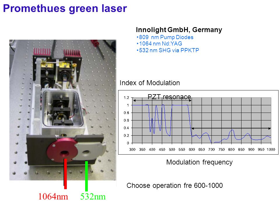 1064nm 532nm Innolight GmbH, Germany 809 nm Pump Diodes 1064 nm Nd:YAG 532 nm SHG via PPKTP Promethues green laser Index of Modulation Modulation frequency PZT resonace Choose operation fre 600-1000