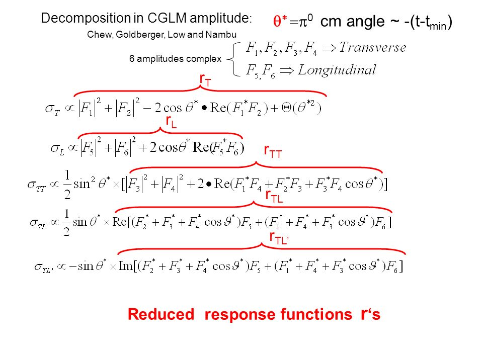 Chew, Goldberger, Low and Nambu Decomposition in CGLM amplitude : 0 cm angle ~ -(t-t min ) 6 amplitudes complex rTrT rLrL r TT r TL Reduced response functions r s