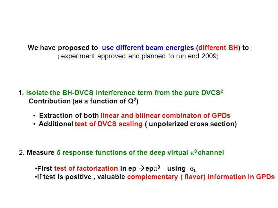 We have proposed to use different beam energies (different BH) to : ( experiment approved and planned to run end 2009 ) 1.