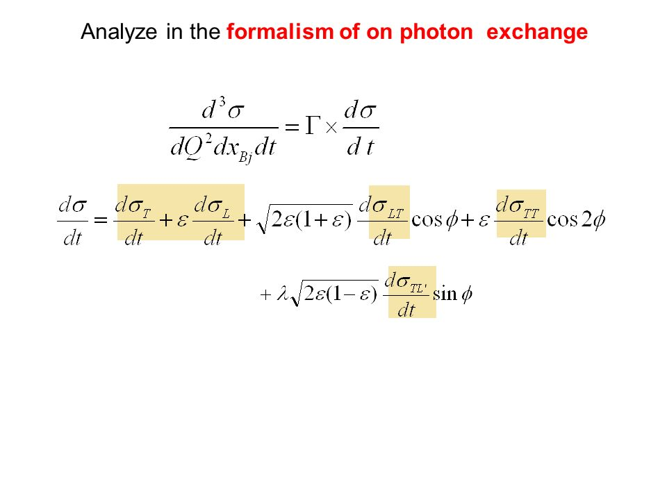 Analyze in the formalism of on photon exchange