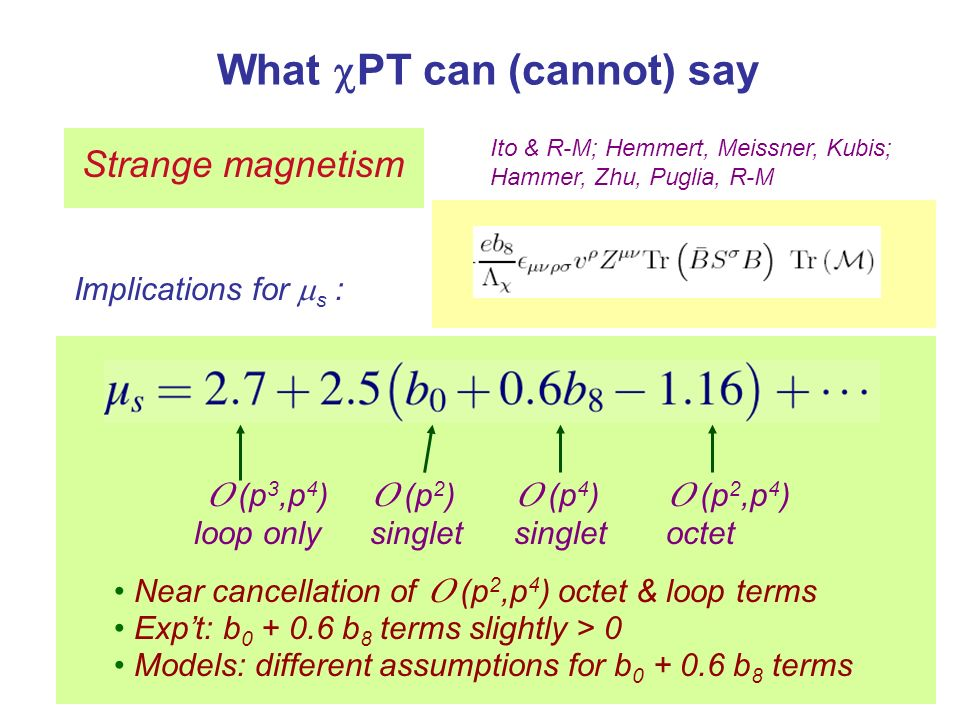 What PT can (cannot) say Strange magnetism Ito & R-M; Hemmert, Meissner, Kubis; Hammer, Zhu, Puglia, R-M Implications for s : O (p 2 ) singlet O (p 3,p 4 ) loop only O (p 2,p 4 ) octet Near cancellation of O (p 2,p 4 ) octet & loop terms Expt: b 0 + 0.6 b 8 terms slightly > 0 Models: different assumptions for b 0 + 0.6 b 8 terms O (p 4 ) octet only O (p 4 ) singlet
