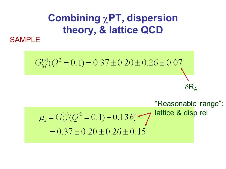 Combining PT, dispersion theory, & lattice QCD R A Reasonable range: lattice & disp rel SAMPLE