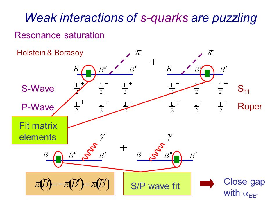 Weak interactions of s-quarks are puzzling Resonance saturation Holstein & Borasoy S 11 Roper S-Wave P-Wave Fit matrix elements S/P wave fit Close gap with BB