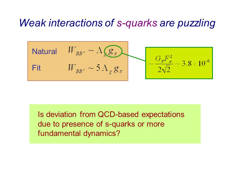 Weak interactions of s-quarks are puzzling Natural Fit Is deviation from QCD-based expectations due to presence of s-quarks or more fundamental dynamics