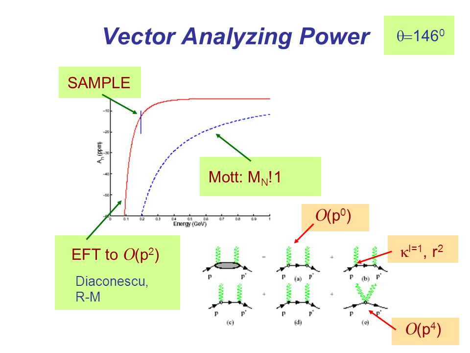 Vector Analyzing Power Mott: M N !1 SAMPLE EFT to O (p 2 ) Diaconescu, R-M I=1, r 2 O (p 0 ) O (p 4 ) 146 0