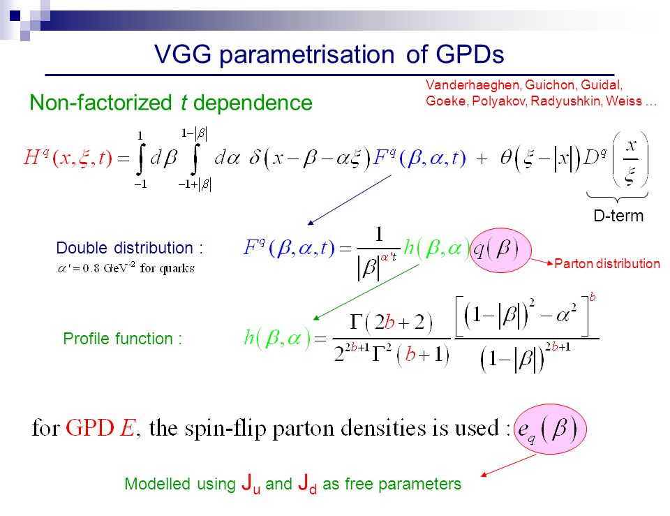 VGG parametrisation of GPDs D-term Non-factorized t dependence Vanderhaeghen, Guichon, Guidal, Goeke, Polyakov, Radyushkin, Weiss … Double distribution : Profile function : Parton distribution Modelled using J u and J d as free parameters