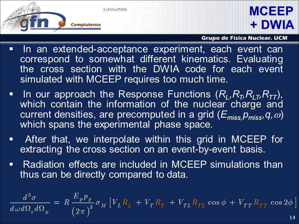 MCEEP + DWIA In an extended-acceptance experiment, each event can correspond to somewhat different kinematics.