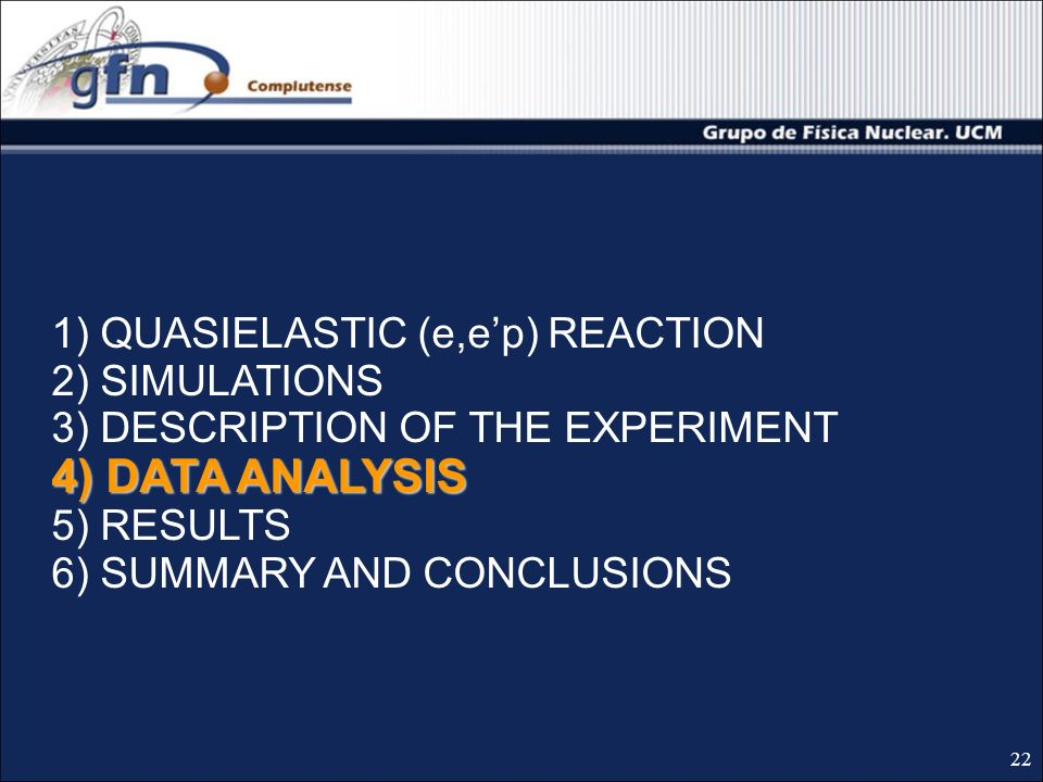 4) DATA ANALYSIS 1) QUASIELASTIC (e,ep) REACTION 2) SIMULATIONS 3) DESCRIPTION OF THE EXPERIMENT 4) DATA ANALYSIS 5) RESULTS 6) SUMMARY AND CONCLUSIONS 22