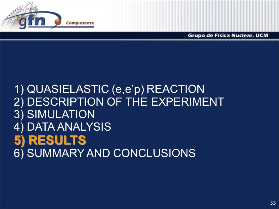5) RESULTS 1) QUASIELASTIC (e,ep) REACTION 2) DESCRIPTION OF THE EXPERIMENT 3) SIMULATION 4) DATA ANALYSIS 5) RESULTS 6) SUMMARY AND CONCLUSIONS 33