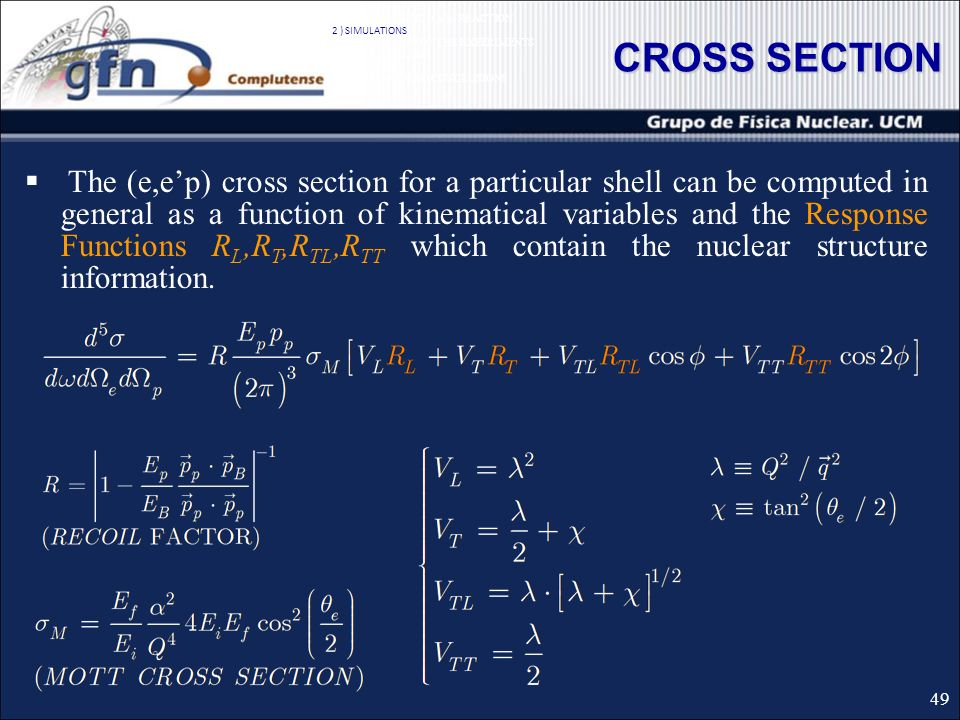 CROSS SECTION The (e,ep) cross section for a particular shell can be computed in general as a function of kinematical variables and the Response Functions R L,R T,R TL,R TT which contain the nuclear structure information.