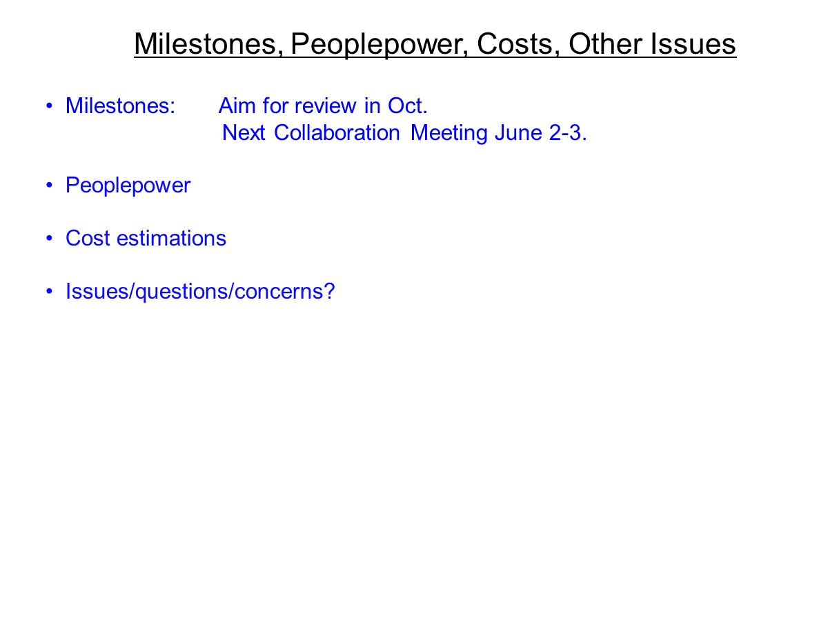Milestones, Peoplepower, Costs, Other Issues Milestones: Aim for review in Oct.