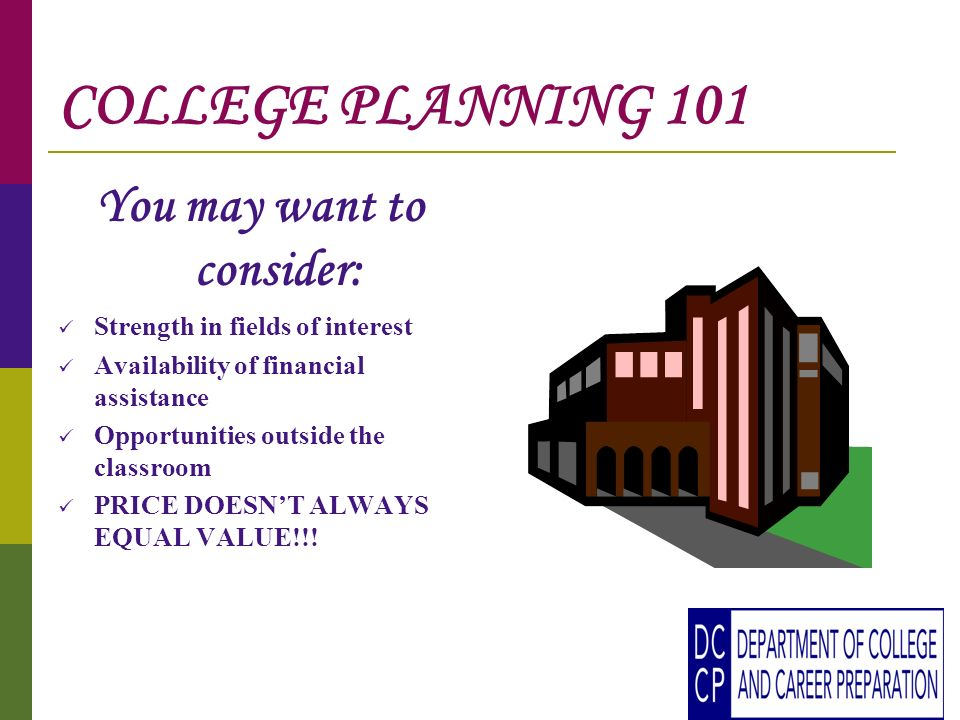COLLEGE PLANNING 101 You may want to consider: Strength in fields of interest Availability of financial assistance Opportunities outside the classroom PRICE DOESNT ALWAYS EQUAL VALUE!!!