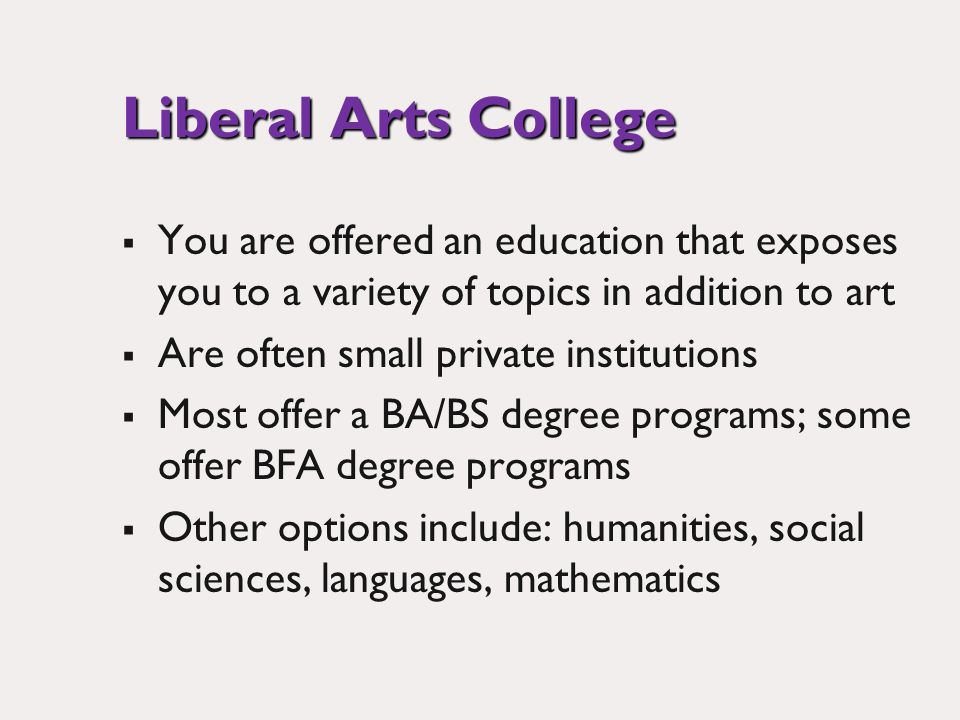 Liberal Arts College You are offered an education that exposes you to a variety of topics in addition to art Are often small private institutions Most offer a BA/BS degree programs; some offer BFA degree programs Other options include: humanities, social sciences, languages, mathematics
