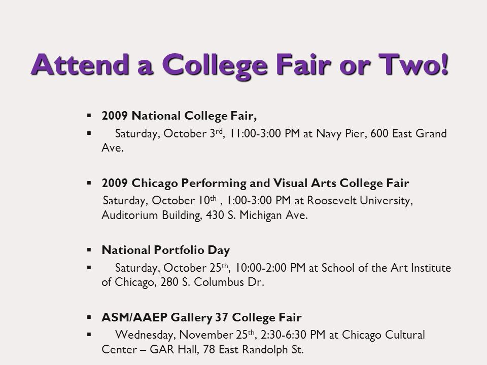 Attend a College Fair or Two.