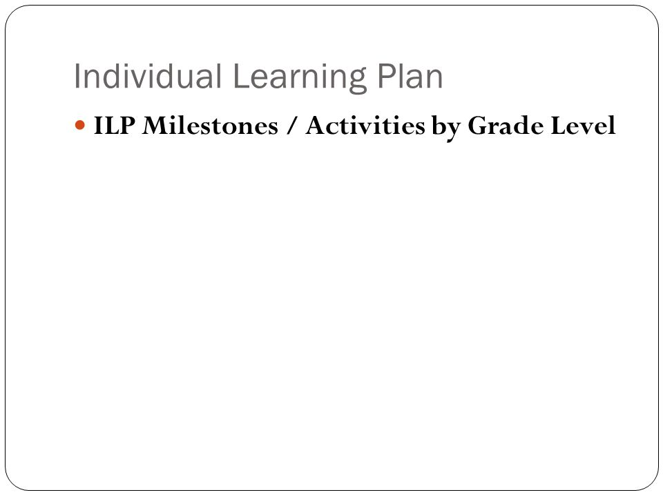 Individual Learning Plan ILP Milestones / Activities by Grade Level
