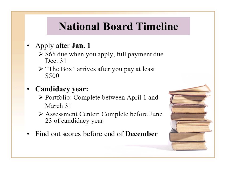 National Board Timeline Apply after Jan. 1 $65 due when you apply, full payment due Dec.