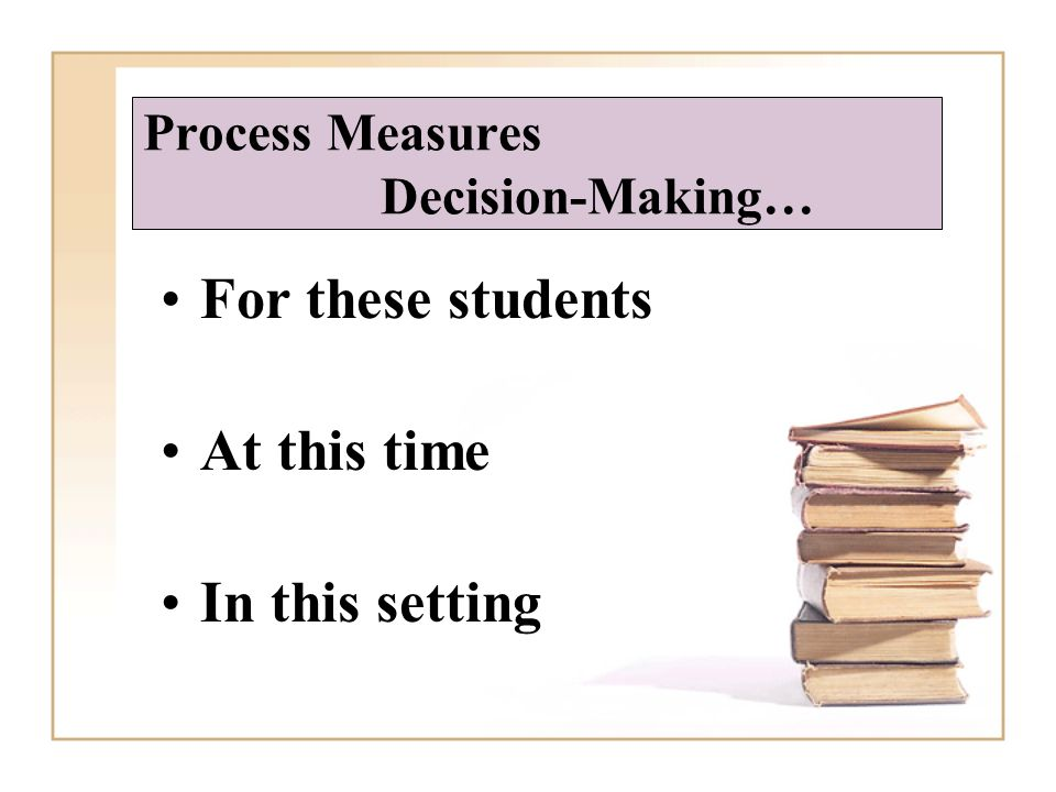 Process Measures Decision-Making… For these students At this time In this setting