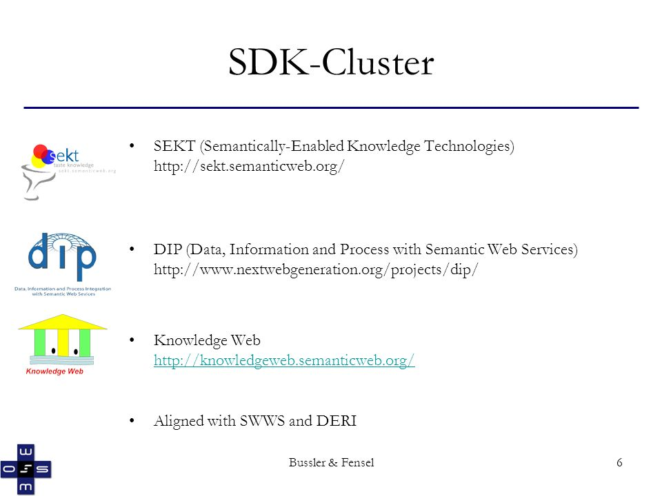 Bussler & Fensel6 SDK-Cluster SEKT (Semantically-Enabled Knowledge Technologies) http://sekt.semanticweb.org/ DIP (Data, Information and Process with Semantic Web Services) http://www.nextwebgeneration.org/projects/dip/ Knowledge Web http://knowledgeweb.semanticweb.org/ Aligned with SWWS and DERI