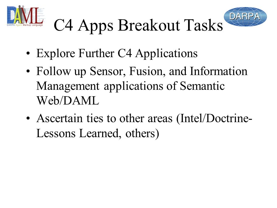 C4 Apps Breakout Tasks Explore Further C4 Applications Follow up Sensor, Fusion, and Information Management applications of Semantic Web/DAML Ascertain ties to other areas (Intel/Doctrine- Lessons Learned, others)