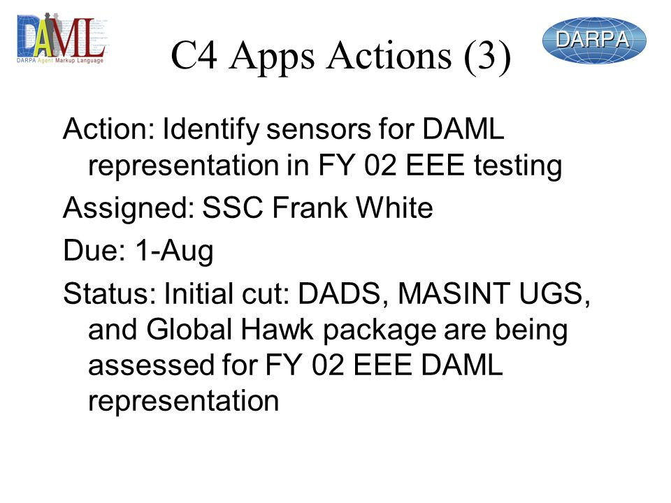 C4 Apps Actions (3) Action: Identify sensors for DAML representation in FY 02 EEE testing Assigned: SSC Frank White Due: 1-Aug Status: Initial cut: DADS, MASINT UGS, and Global Hawk package are being assessed for FY 02 EEE DAML representation