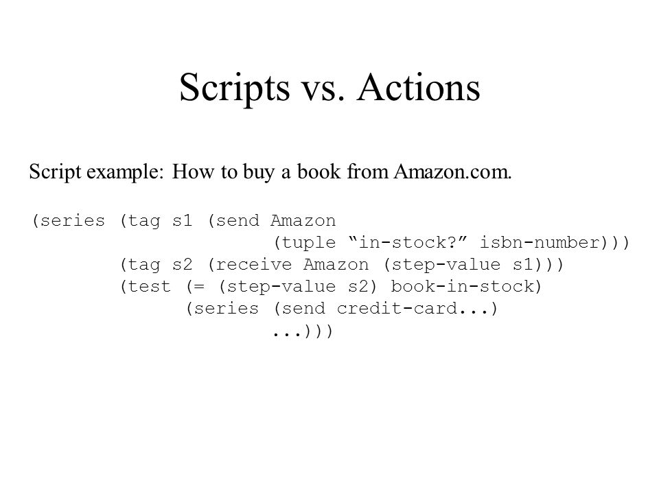 Scripts vs. Actions Script example: How to buy a book from Amazon.com.