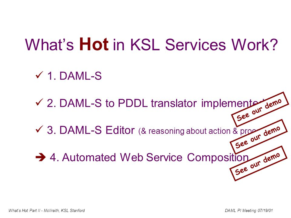 Whats Hot Part II - McIlraith, KSL Stanford DAML PI Meeting 07/19/01 Whats Hot in KSL Services Work.