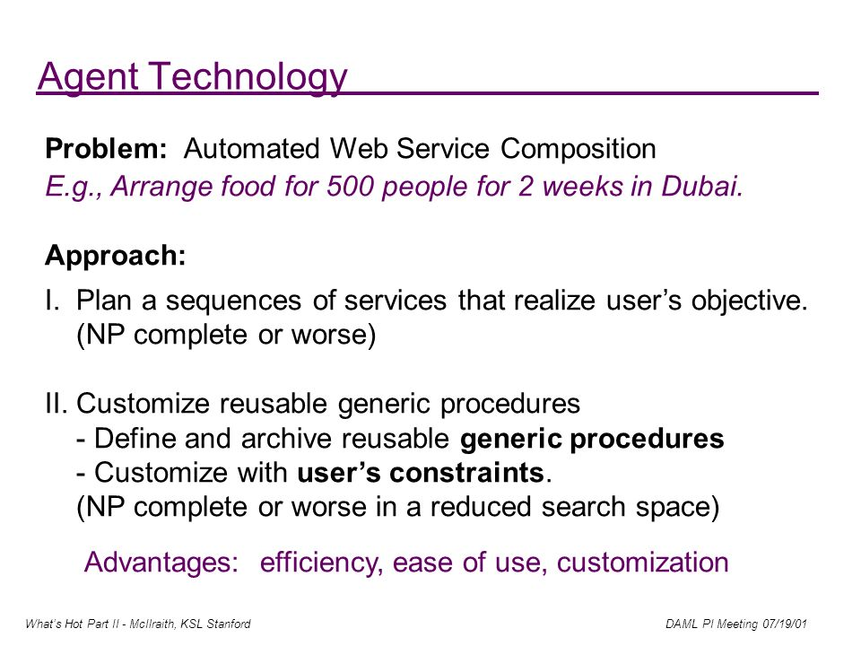 Whats Hot Part II - McIlraith, KSL Stanford DAML PI Meeting 07/19/01 Agent Technology Problem: Automated Web Service Composition E.g., Arrange food for 500 people for 2 weeks in Dubai.