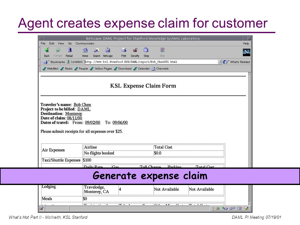Whats Hot Part II - McIlraith, KSL Stanford DAML PI Meeting 07/19/01 Agent creates expense claim for customer Generate expense claim
