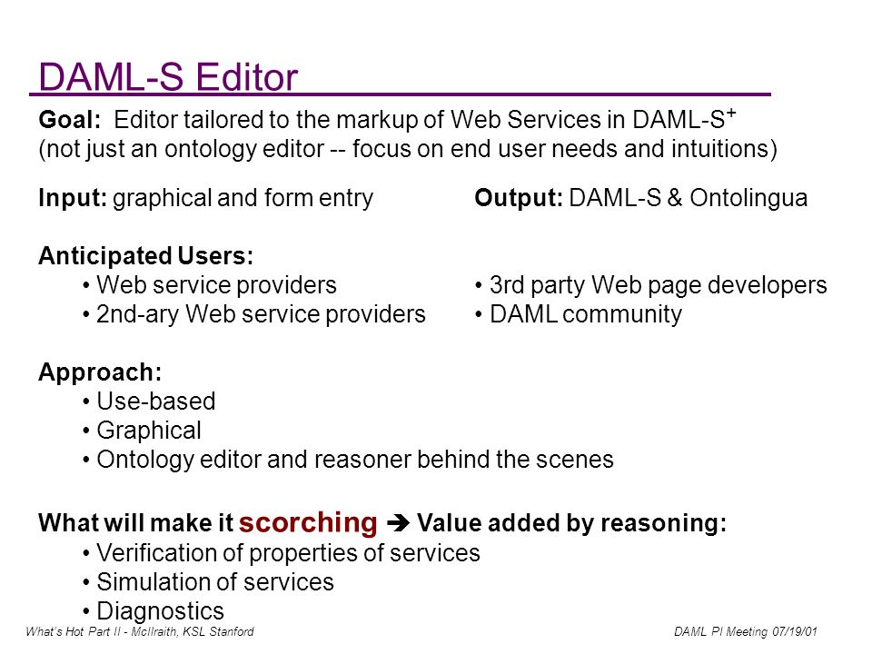 Whats Hot Part II - McIlraith, KSL Stanford DAML PI Meeting 07/19/01 DAML-S Editor Goal: Editor tailored to the markup of Web Services in DAML-S + (not just an ontology editor -- focus on end user needs and intuitions) Input: graphical and form entryOutput: DAML-S & Ontolingua Anticipated Users: Web service providers 3rd party Web page developers 2nd-ary Web service providers DAML community Approach: Use-based Graphical Ontology editor and reasoner behind the scenes What will make it scorching Value added by reasoning: Verification of properties of services Simulation of services Diagnostics