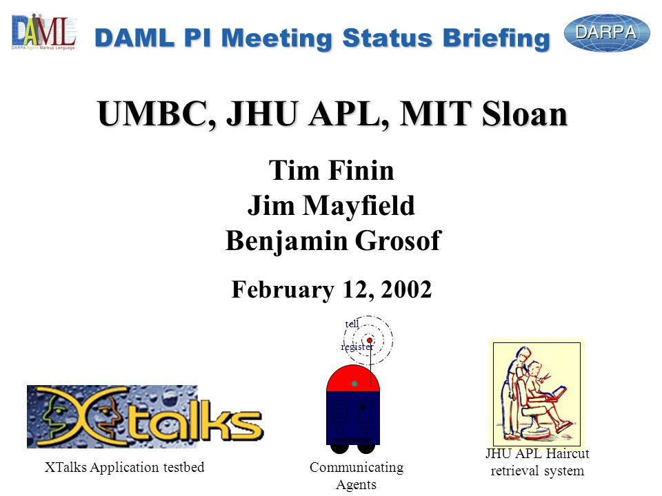 DAML PI Meeting Status Briefing UMBC, JHU APL, MIT Sloan Tim Finin Jim Mayfield Benjamin Grosof February 12, 2002 tell register JHU APL Haircut retrieval system Communicating Agents XTalks Application testbed
