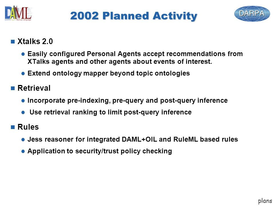 2002 Planned Activity n Xtalks 2.0 l Easily configured Personal Agents accept recommendations from XTalks agents and other agents about events of interest.