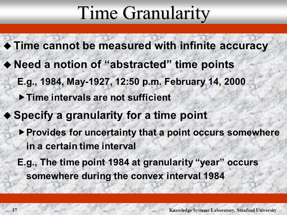 Knowledge Systems Laboratory, Stanford University17 Time Granularity Time cannot be measured with infinite accuracy Need a notion of abstracted time points E.g., 1984, May-1927, 12:50 p.m.