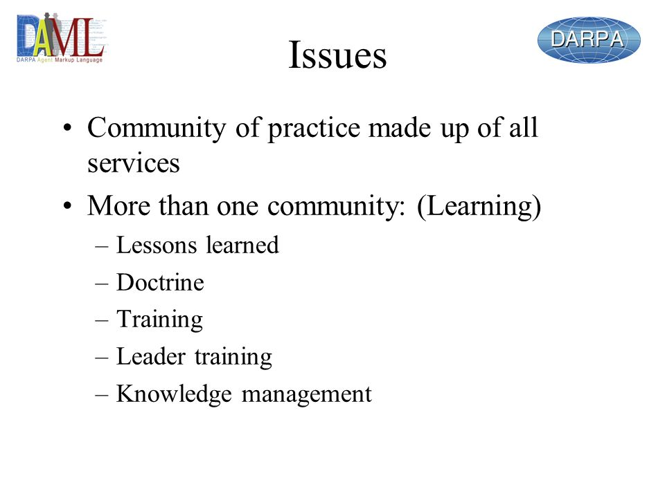 Issues Community of practice made up of all services More than one community: (Learning) –Lessons learned –Doctrine –Training –Leader training –Knowledge management