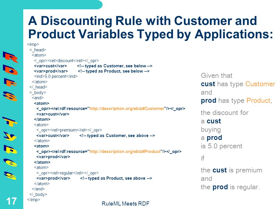 RuleML Meets RDF 16 Type by Application Technique In RuleML s conjunctive rule-body tag and give a taxonomic RDFS type to a logic variable by applying an RDFS class via a rel – containing the RDF attribute rdf:resource – to that logic variable