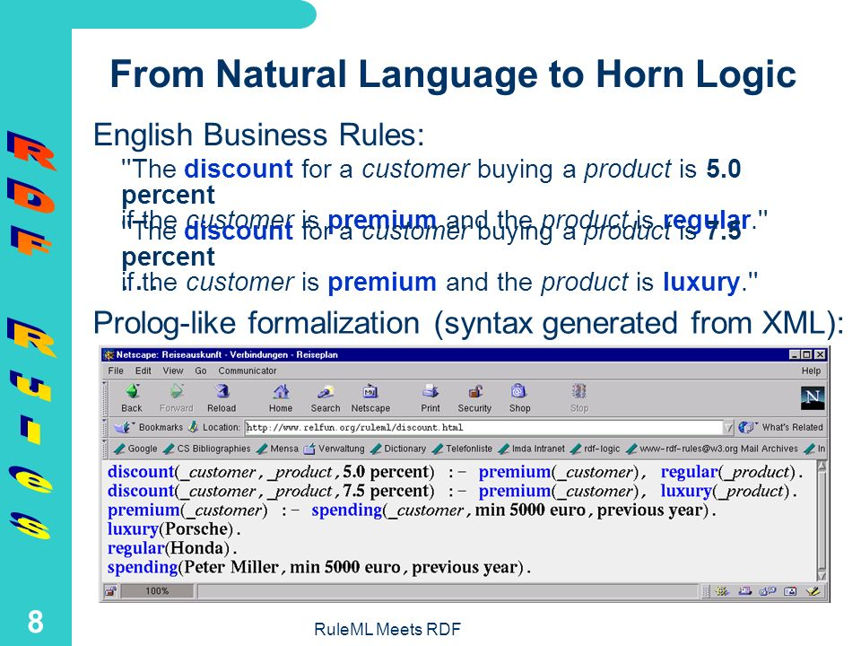 RuleML Meets RDF 7 Overview of RDF Formats for RuleML Rules An experimental translator for the XML-based RuleML 0.7 to RDF has been available in XSLT: This was the first RuleML in RDFRuleML in RDF The current RuleML 0.8 stands in a direct RDF Context: It integrates the XML and RDF data modelsContextintegrates the XML and RDF data models Michael Sintek has implemented translators between Prolog and an RDF-based RuleML 0.8 Michael Sintektranslators Massimo Paolucci used this RDF RuleML in DAML-S Semantic Matchmaking for Web Services Discovery to describe constraints related to input and output, and also preconditions and effects for planning Semantic Matchmaking for Web Services Discoveryconstraints related to input and output, and also preconditions and effects for planning We recently further developed RDF RuleML 0.8 using the W3C RDF Validation Service: http://www.w3.org/RDF/Validator/ http://www.w3.org/RDF/Validator/
